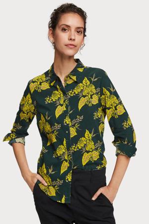 blouse met all over print groen/geel