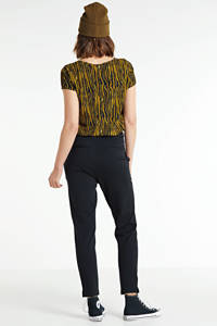Scotch & Soda cropped high waist tapered fit broek zwart, Zwart