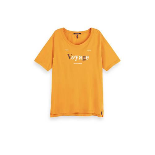 Scotch & Soda T-shirt met tekst geel