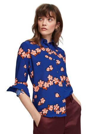 gebloemde blouse blauw/ oranje