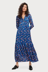 Scotch & Soda maxi jurk met all over print en volant blauw/multi, Blauw/multi