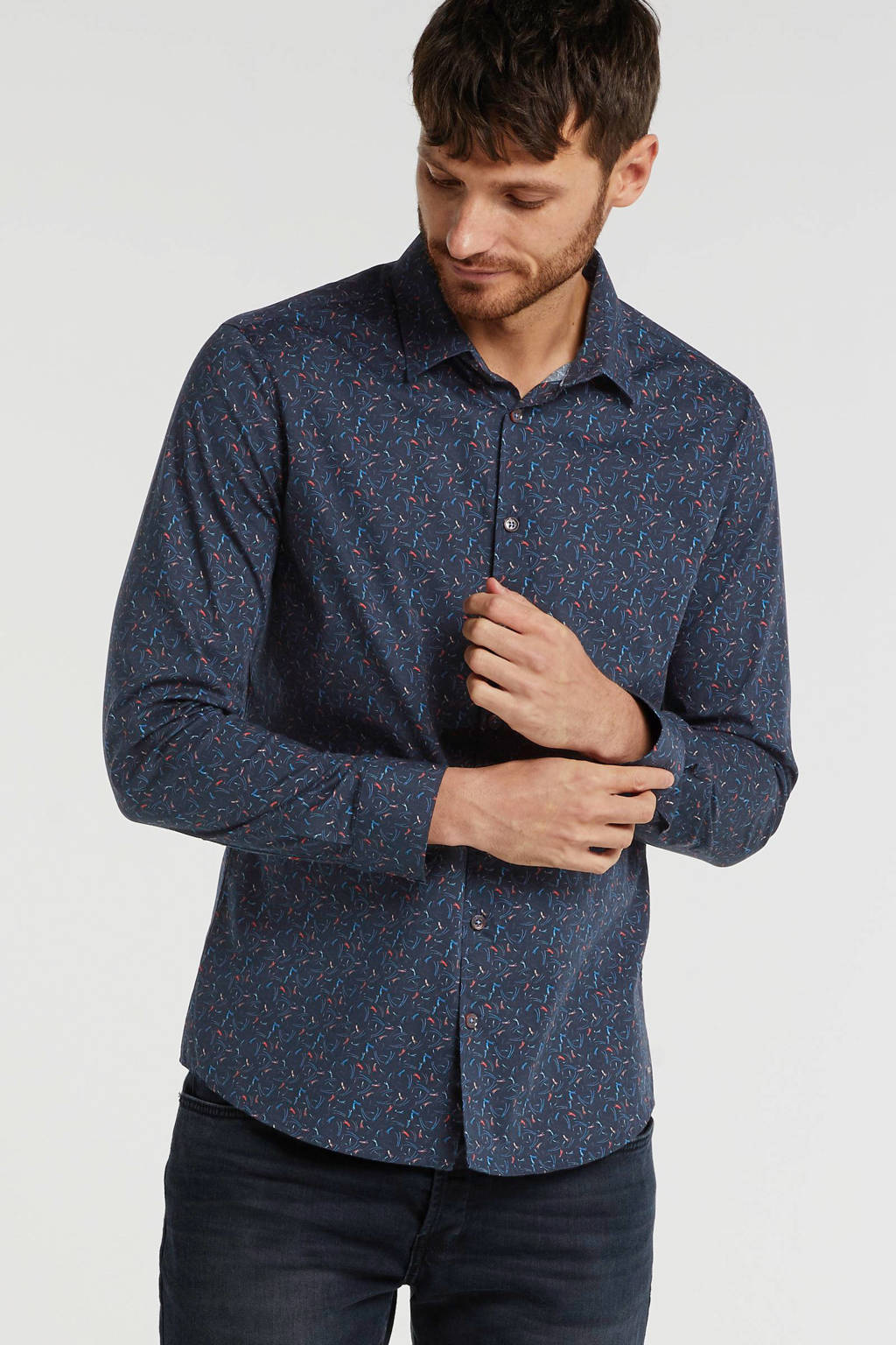 No Excess slim fit overhemd met all over print donkerblauw/multi, Donkerblauw/multi