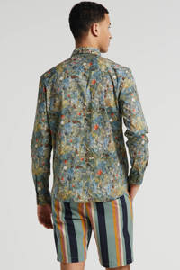 No Excess regular fit overhemd met all over print groen/bruin/wit, Groen/bruin/wit