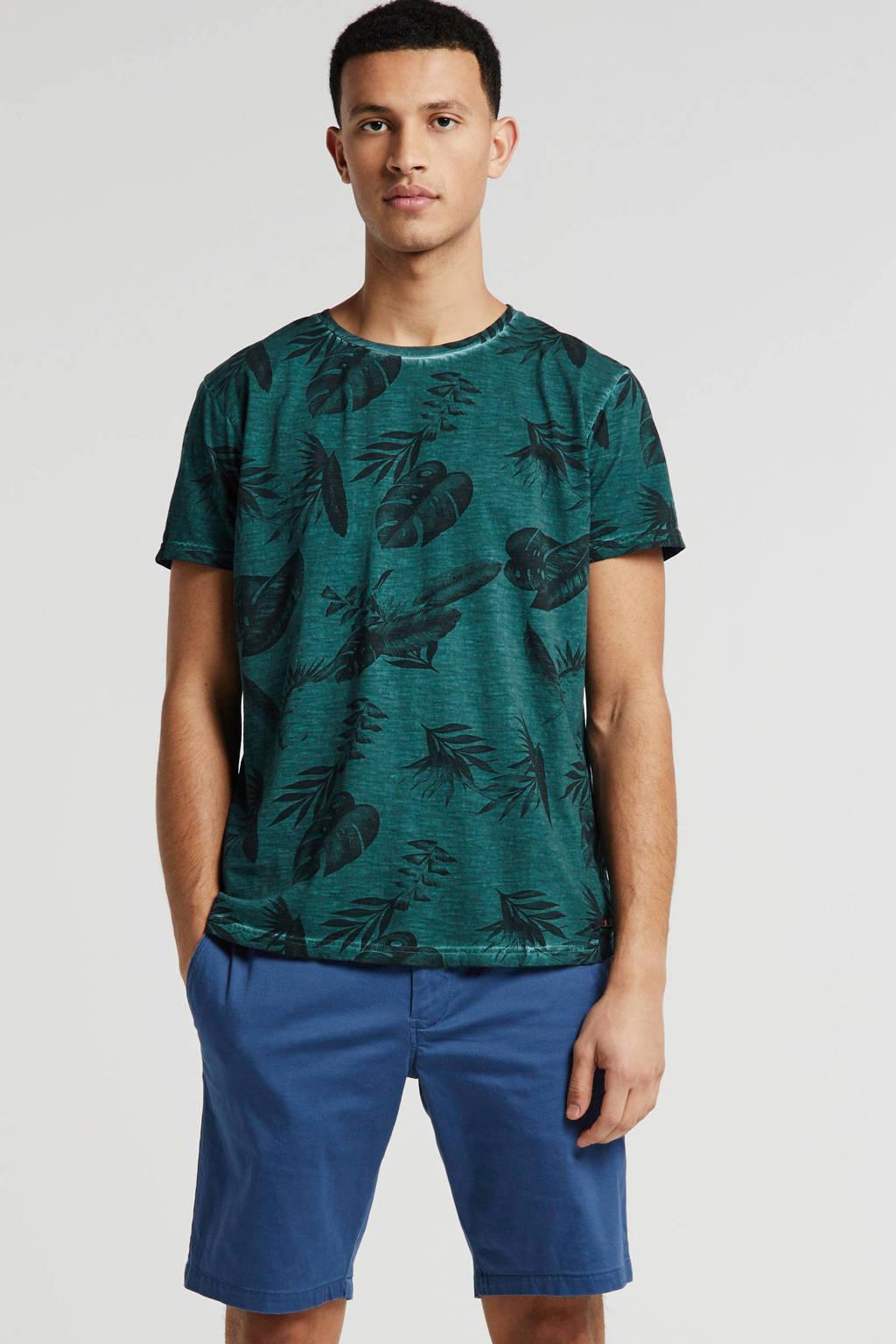 No Excess T-shirt met all over print donkergroen/zwart, Donkergroen/zwart
