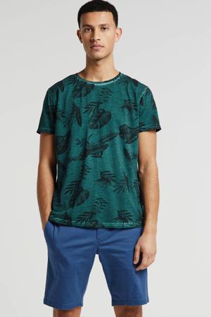 T-shirt met all over print donkergroen/zwart