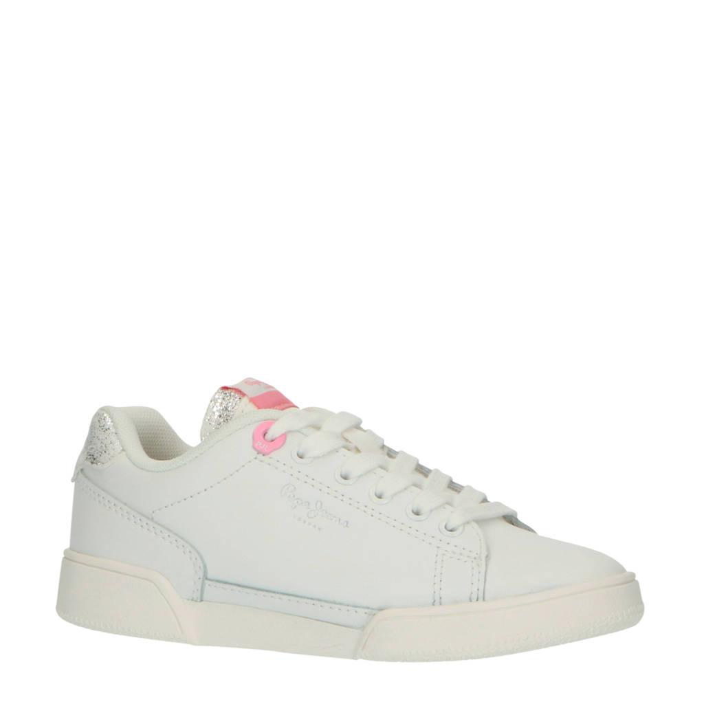 Pepe Jeans Lambert Girl  leren sneakers wit/roze, Wit/roze/zilver