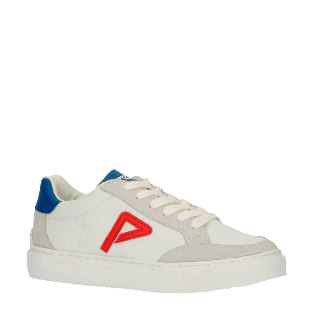 Pepe Jeans Adams Archive Boys  suède sneakers wit/multi, Wit/rood/blauw