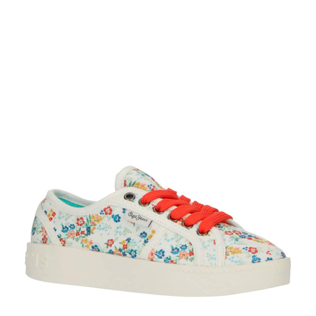 Pepe Jeans Brixton Flowers sneakers wit/multi, Wit/multi