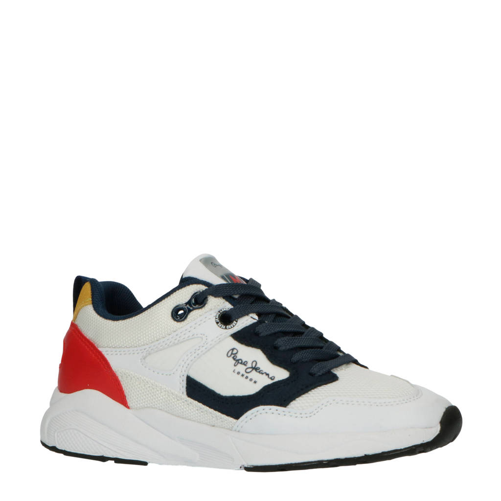 Pepe Jeans Orbital Junior Boys  sneakers wit, Wit/blauw/rood