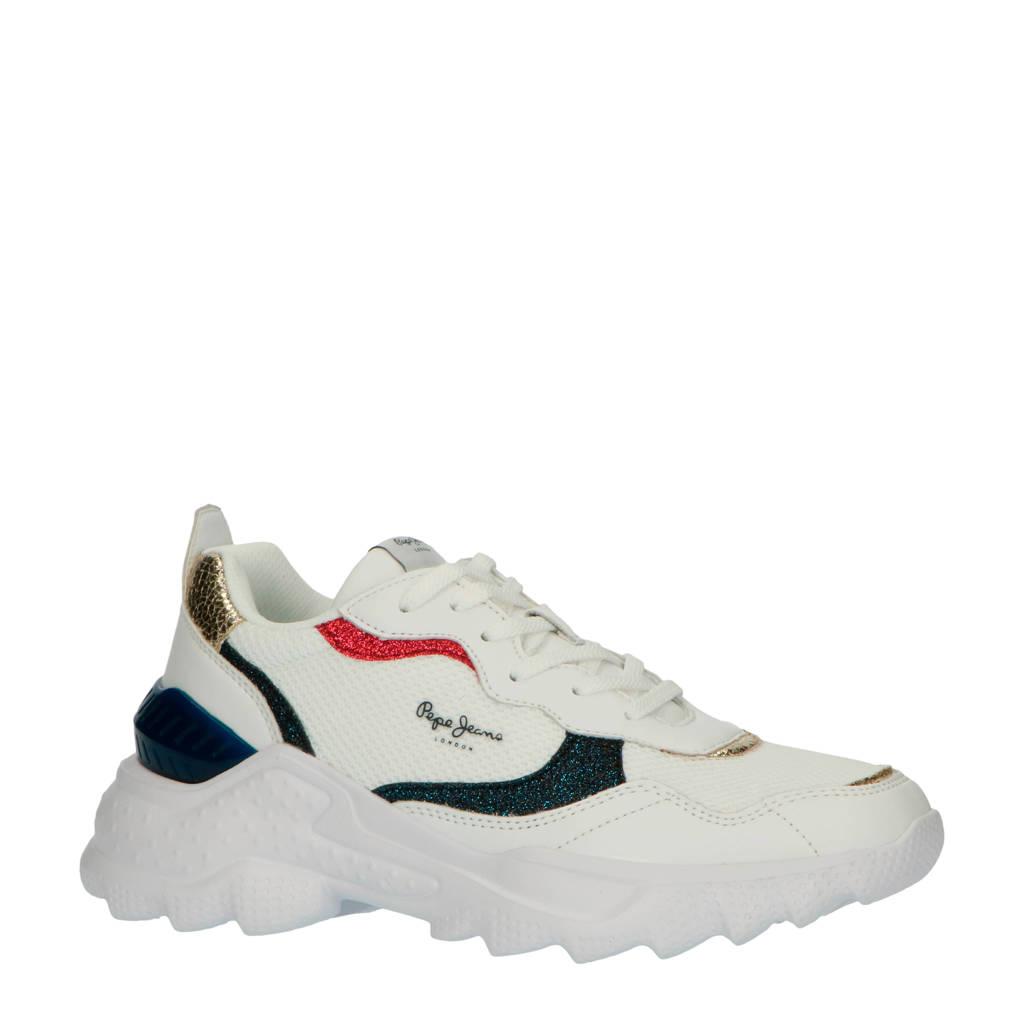 Pepe Jeans Eccles Clex sneakers met glitter wit/zwart/rood, Wit