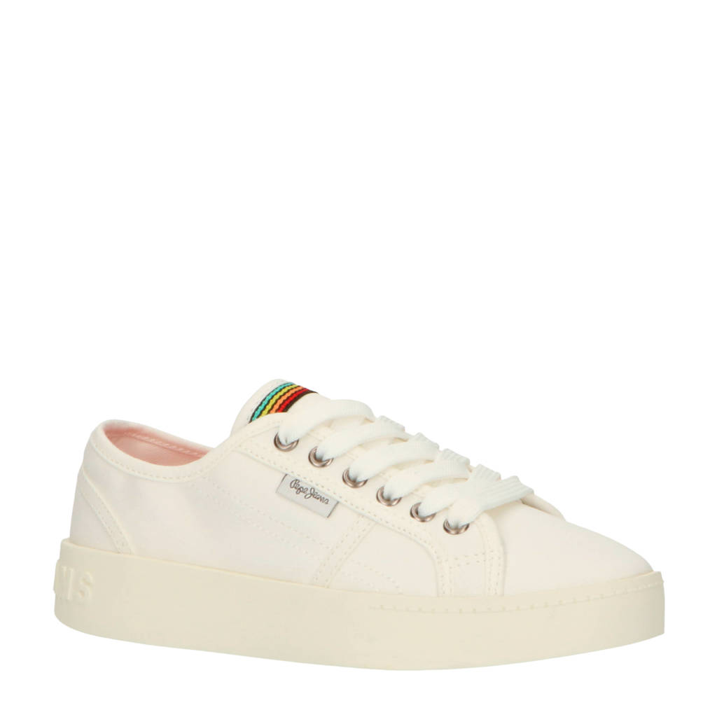 Pepe Jeans Brixton Flowers sneakers wit, Wit