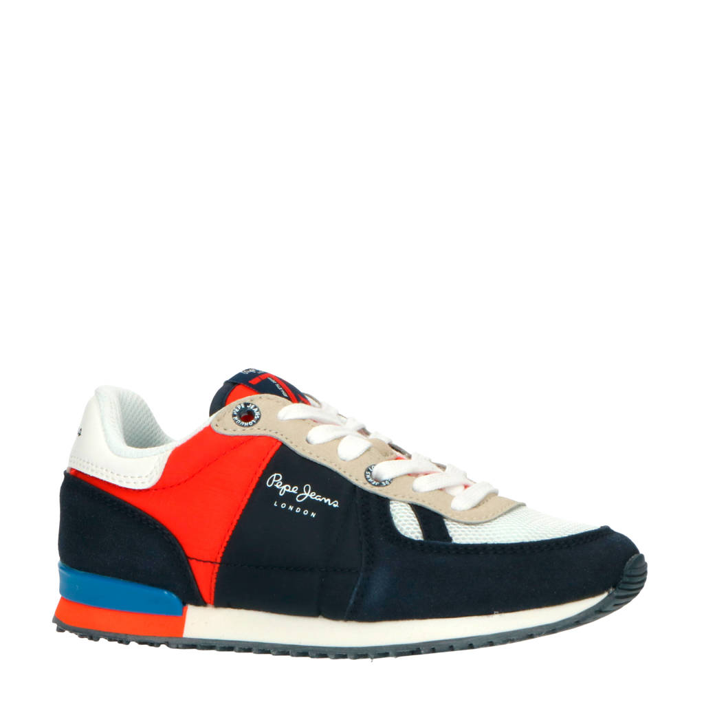 Pepe Jeans Sydney Basic Boy  sneakers blauw/rood, Blauw/rood/wit