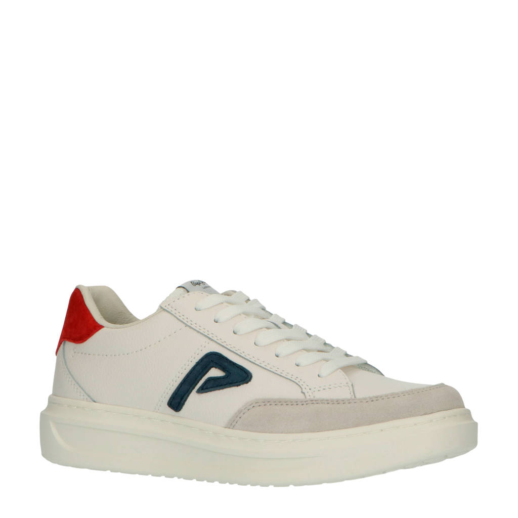 Pepe Jeans Abbey ARch  sneakers wit/grijs/rood, wit/grijs/rood/donkerblauw