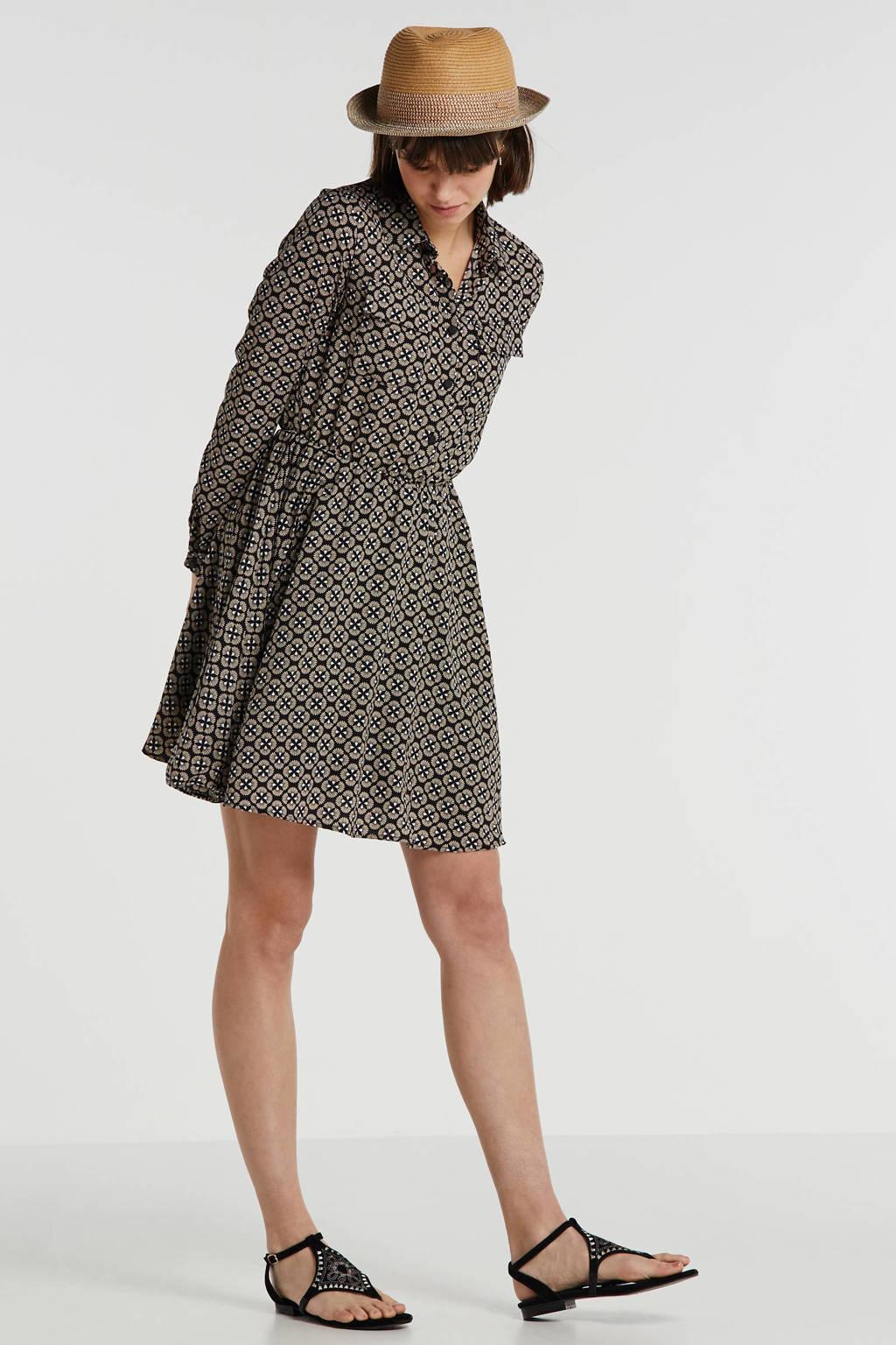 Lofty Manner blousejurk, Zwart/ beige