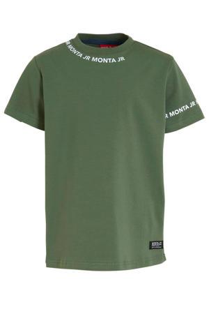 T-shirt Taraz met tekst donkergroen/wit