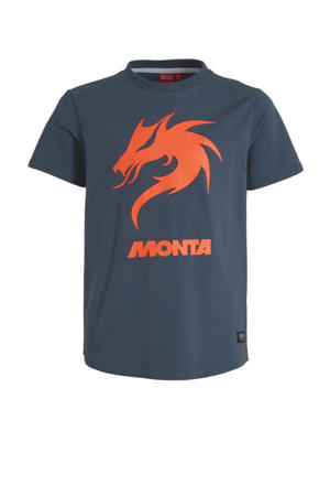 T-shirt Dragon Tee met printopdruk donkerblauw/oranje