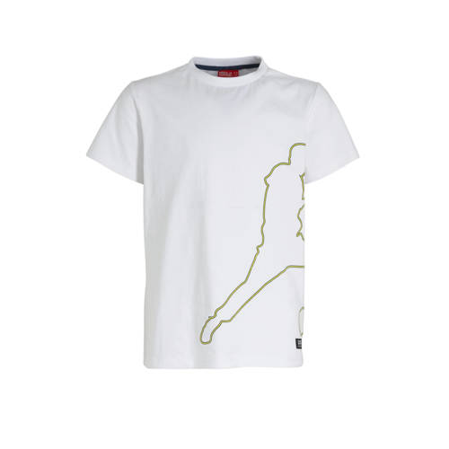 Monta T-shirt Tadoa met printopdruk wit/lichtgroen