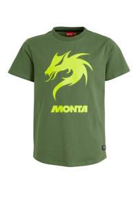 Monta T-shirt Dragon Tee met printopdruk groen/geel, Groen/geel