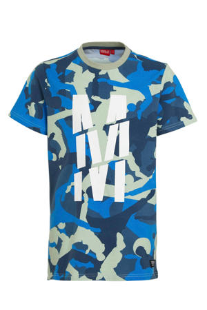T-shirt Trento met camouflageprint lichtgroen/blauw/wit