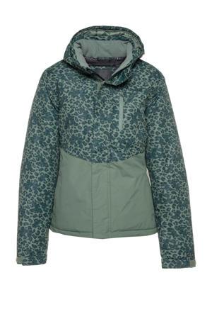 ski-jack groen/luipaardprint