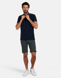 Refill by Shoeby slim fit polo Esrom donkerblauw, Donkerblauw