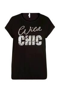 Miss Etam Plus T-shirt met printopdruk zwart, Zwart