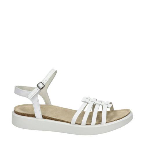 Ecco Corksphere leren sandalen wit