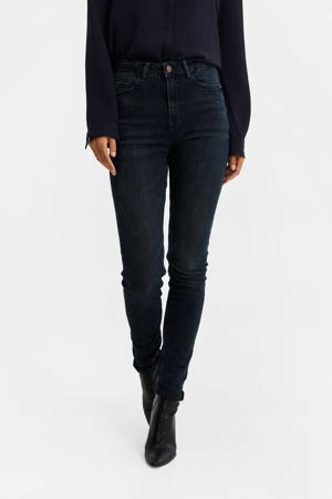 high waist skinny jeans dark blue denim