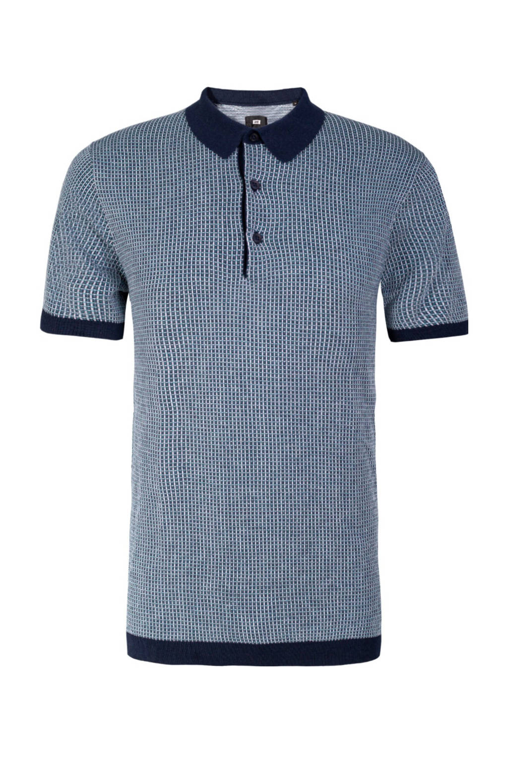 WE Fashion slim fit polo met jacquard en textuur donkerblauw, Donkerblauw