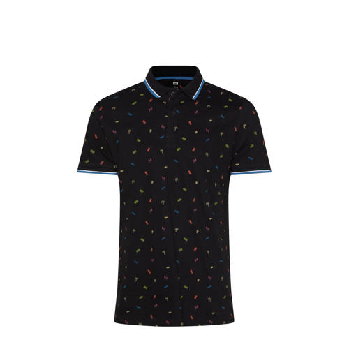 WE Fashion slim fit polo met all over print zwart/