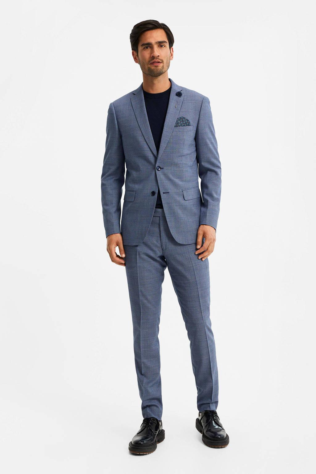 WE Fashion gemêleerd slim fit colbert royal navy melange, Royal Navy Melange