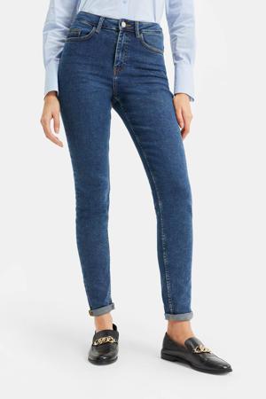 high waist skinny jeans blue denim