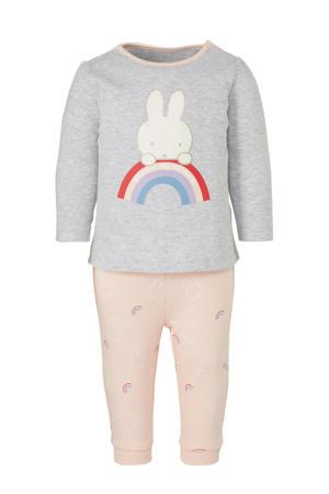 pyjama met print lichtgrijs/lichtroze