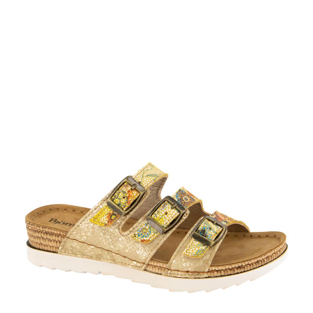 Bjorndal   slippers met bloemenprint geel/zand, Geel/zand