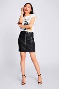 Morgan imitatieleren rok met ceintuur zwart, Zwart