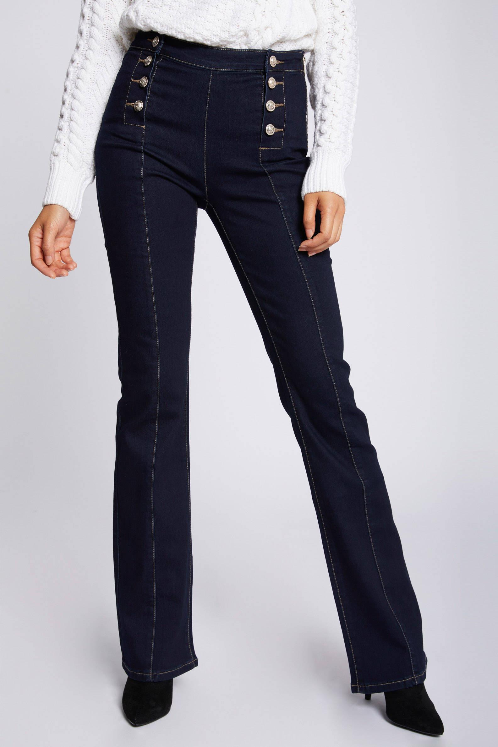 Morgan high waist flared broek donkerblauw | wehkamp