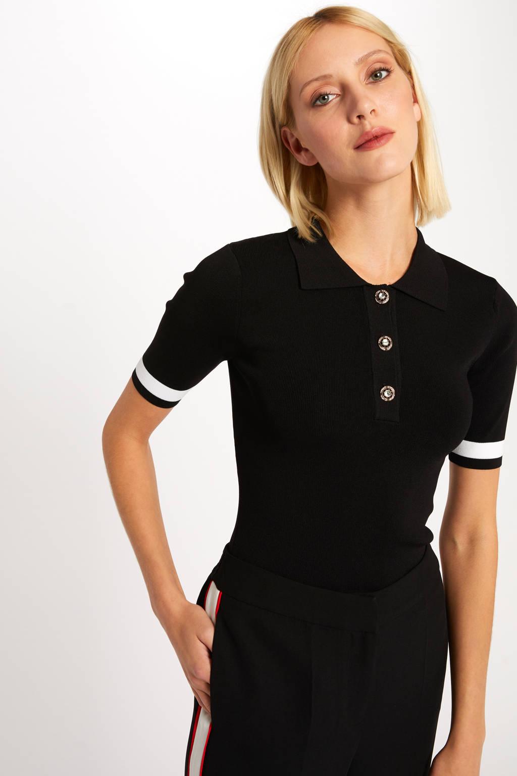 Morgan top met contrastbies zwart, Zwart