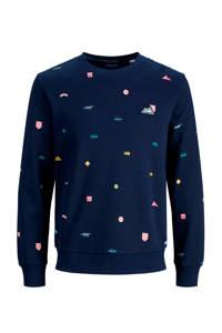 JACK & JONES ORIGINALS sweater met all over print donkerblauw/groen/geel, Donkerblauw/groen/geel