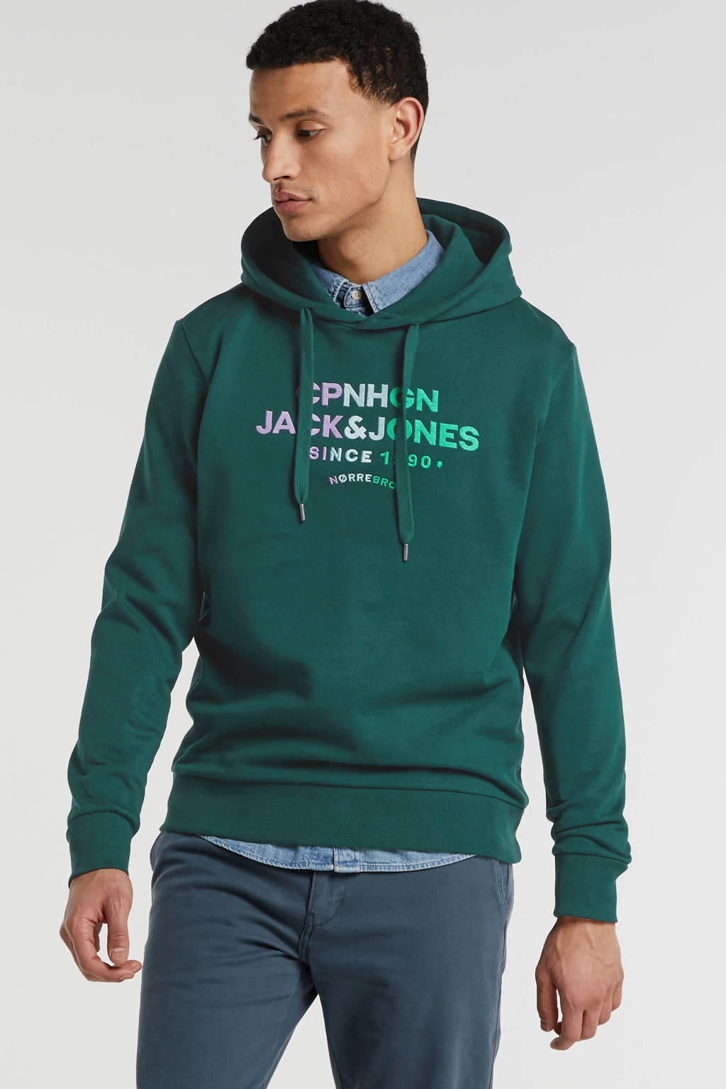 JACK & JONES ORIGINALS hoodie met logo sea moss, Sea Moss