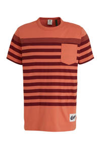 G-Star RAW gestreept T-shirt van biologisch katoen rosé, Rosé