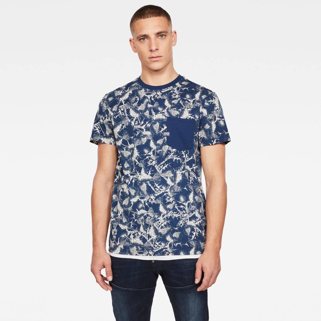 G-Star RAW T-shirt Thistle  van biologisch katoen donkerblauw, Donkerblauw