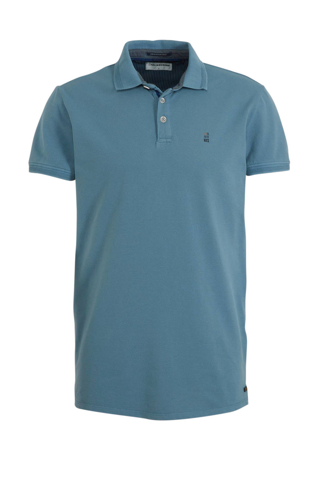 No Excess regular fit polo met logo steel, Steel