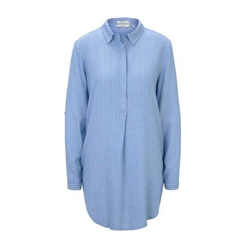Tom Tailor blouse met krijtstreep blauw/wit