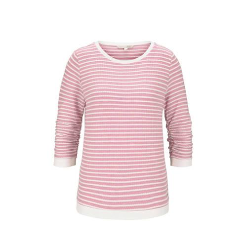 Tom Tailor Denim gestreepte top roze/wit