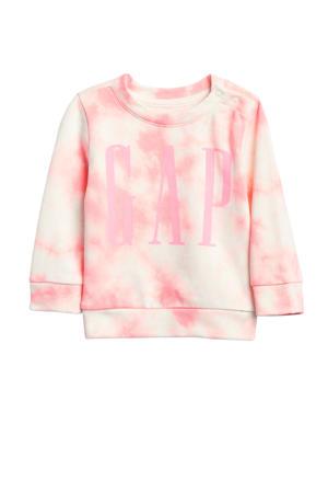 baby sweater met tie-dye dessin en logo roze/wit