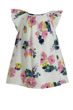 gebloemde jurk wit/roze/donkerblauw