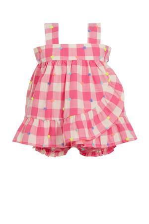 geruite baby jurk met broek roze/wit