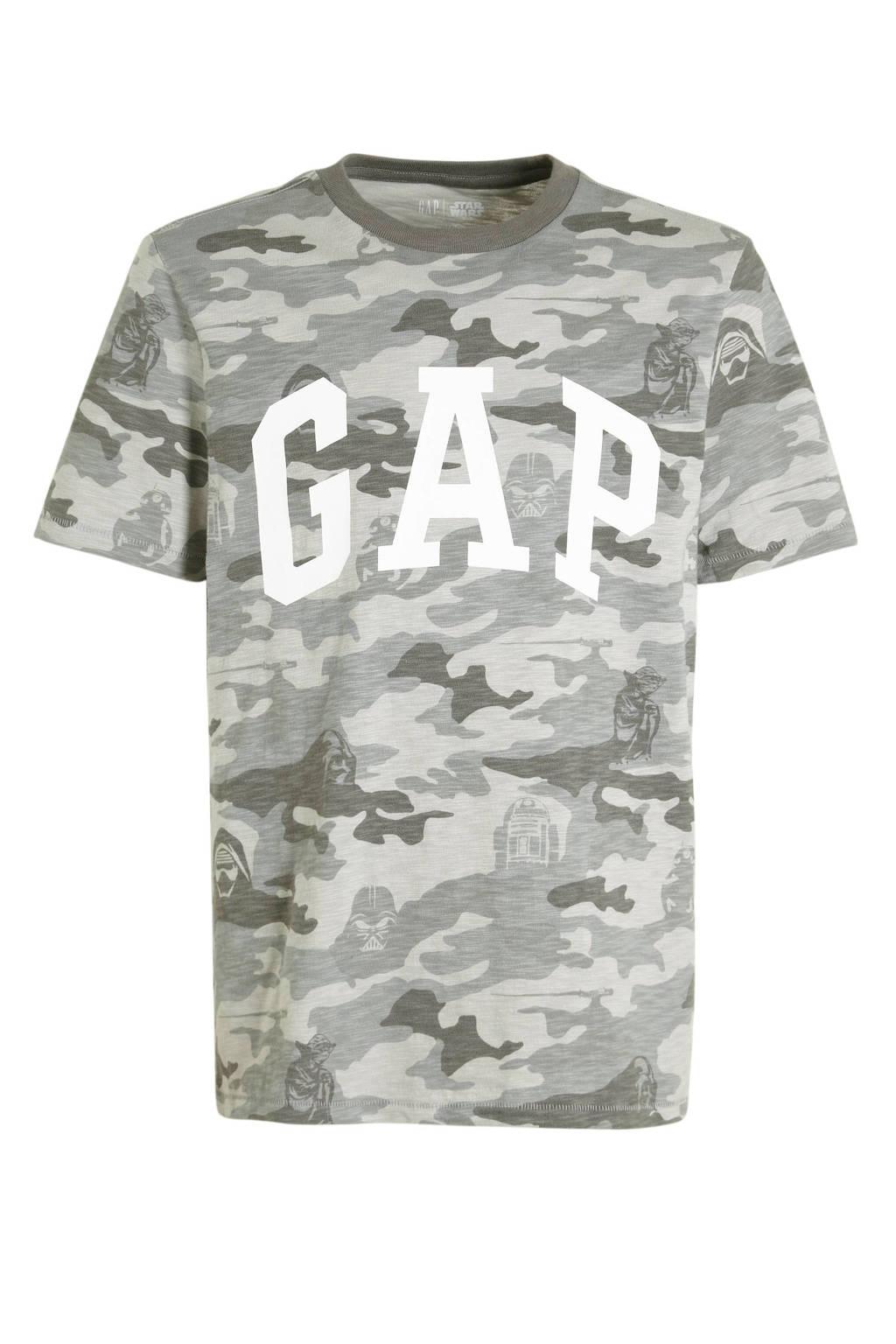 GAP T-shirt met camouflageprint grijs, Grijs