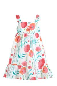 GAP A-lijn jurk met all over print en plooien wit/rood/groen, Wit/rood/groen