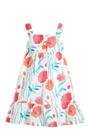 A-lijn jurk met all over print en plooien wit/rood/groen